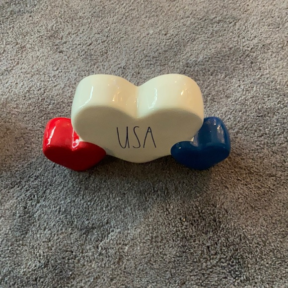 Rae Dunn USA Red White Blue Hearts